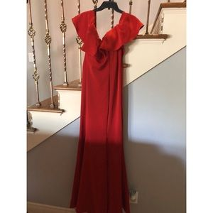 Off the shoulder red dress / prom dress